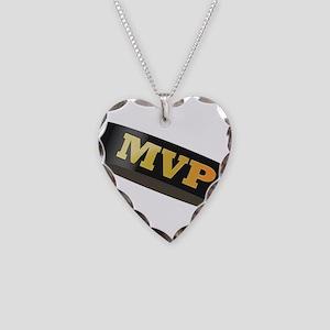 Hockey Puck MVP Necklace Heart Charm