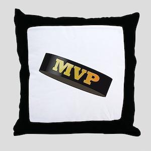 Hockey Puck MVP Throw Pillow
