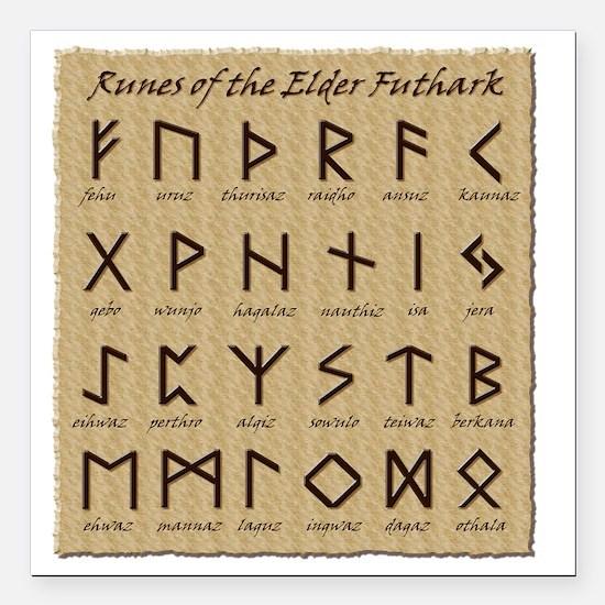"All-Runes-flat_10x10 Square Car Magnet 3"" x 3"""
