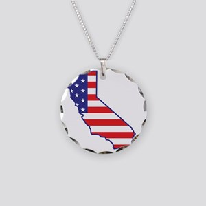 california_state_flag_map1 Necklace Circle Charm