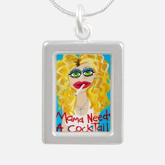 cocktail blonde Silver Portrait Necklace
