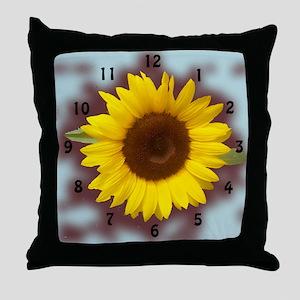 sunflower wall clock2 Throw Pillow