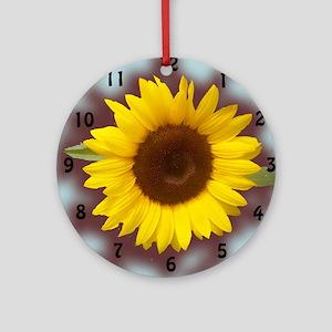 sunflower wall clock2 Round Ornament