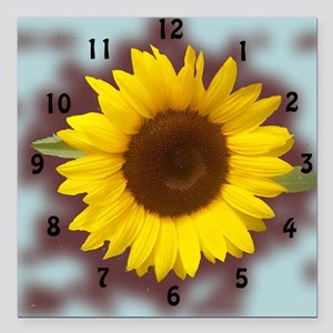 "sunflower wall clock2 Square Car Magnet 3"" x 3"""