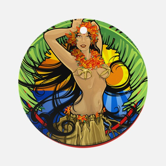 Hawaiian Hula Girl Ornament (Round)