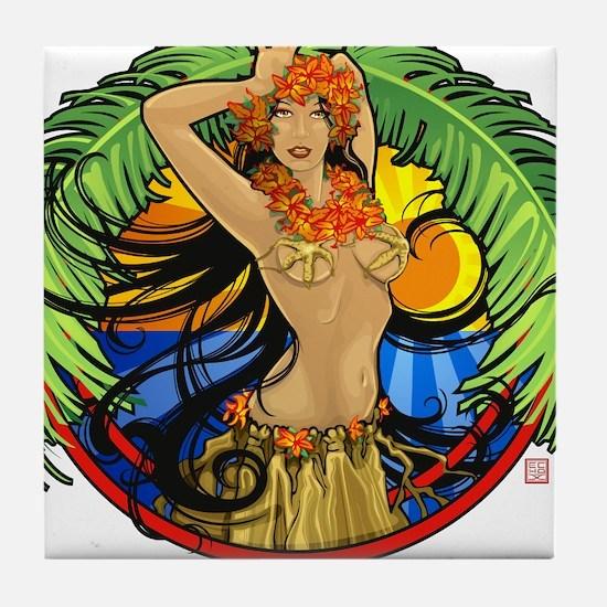 Hawaiian Hula Girl Tile Coaster