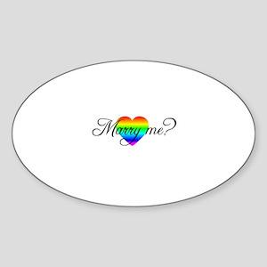 Marry Me? Rainbow Heart Oval Sticker