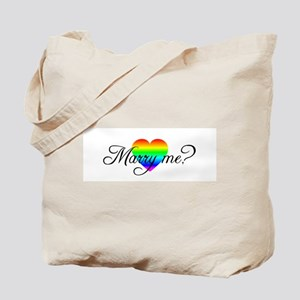 Marry Me? Rainbow Heart Tote Bag
