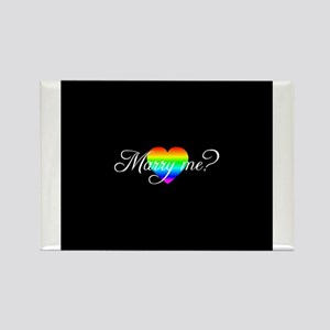 Marry Me? Rainbow Heart Rectangle Magnet