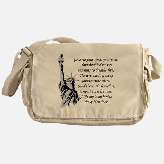 Statue-of-Liberty-quote-(white-shirt Messenger Bag