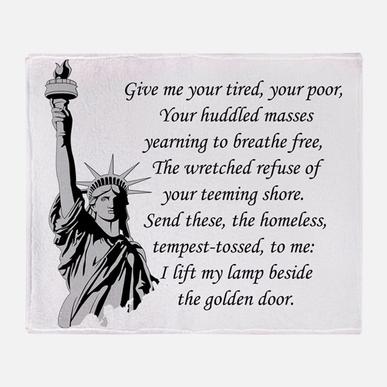 Statue-of-Liberty-quote-(white-shirt Throw Blanket