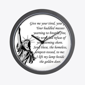 Statue-of-Liberty-quote-(white-shirt) Wall Clock