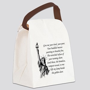 Statue-of-Liberty-quote-(white-sh Canvas Lunch Bag