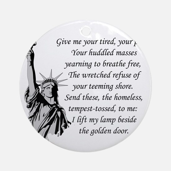 Statue-of-Liberty-quote-(white-shir Round Ornament