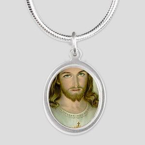2-jesus Silver Oval Necklace