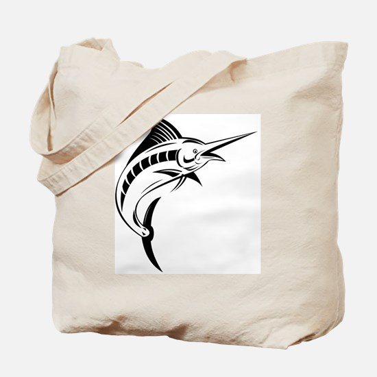 blue marlin jumping Tote Bag