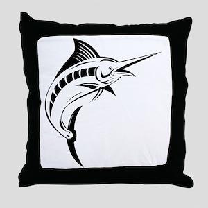 blue marlin jumping Throw Pillow