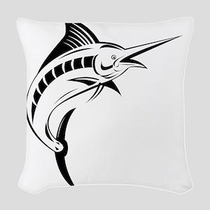 blue marlin jumping Woven Throw Pillow