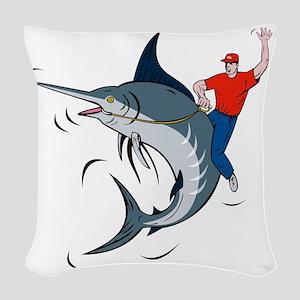bucking marlin rodeo riding Woven Throw Pillow