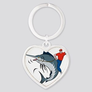 bucking marlin rodeo riding Heart Keychain