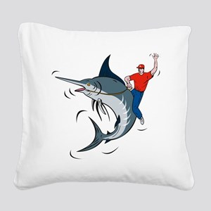 bucking marlin rodeo riding Square Canvas Pillow