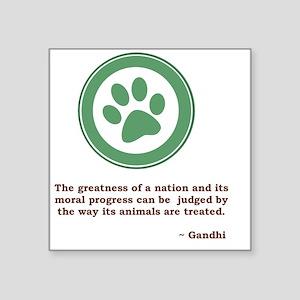 "GandhiGreenPaw Square Sticker 3"" x 3"""