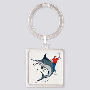 bucking marlin rodeo riding Square Keychain