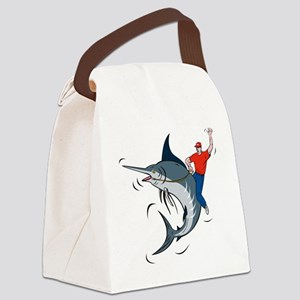 bucking marlin rodeo riding Canvas Lunch Bag