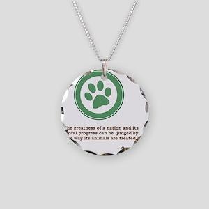 GandhiGreenPawSmall Necklace Circle Charm
