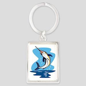 blue marlin jumping Portrait Keychain