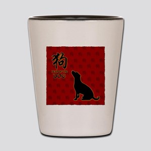 dog_10x10_red Shot Glass