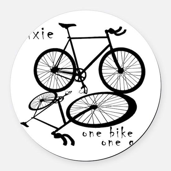 Fixie - one bike one gear Round Car Magnet