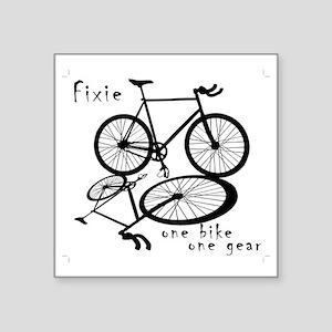 """Fixie - one bike one gear Square Sticker 3"""" x 3"""""""