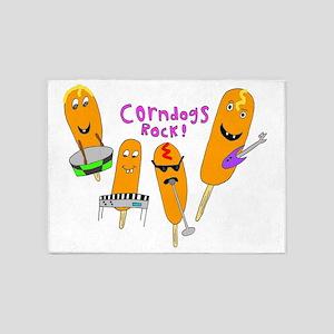 2-corndogs_rock_1 5'x7'Area Rug