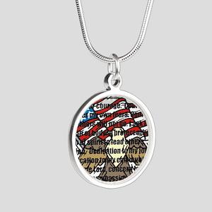 POPRAYERflag2 Silver Round Necklace