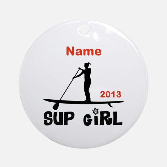 SUP Girl (Personalized) Ornament (Round)