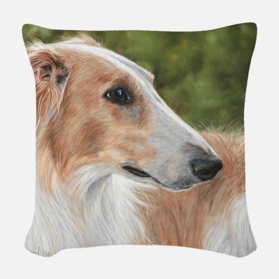 Borzoi3 Woven Throw Pillow