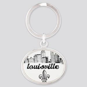 Lou drawing blk fluer Oval Keychain