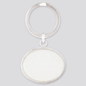 Lou drawing white fluer Oval Keychain