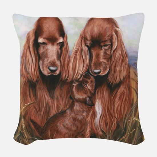 Irish_Setter_Dogs Woven Throw Pillow