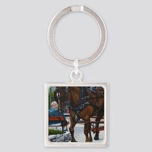 A day on the Island Square Keychain