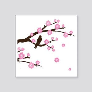 "cherry blossoms Square Sticker 3"" x 3"""