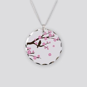 cherry blossoms Necklace Circle Charm