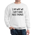 I Am Why We Can't Have Nice Things Sweatshirt