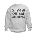 I Am Why We Can't Have Nice Things Kids Sweatshirt