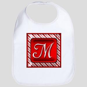 Peppermint Candy Cane Monogram M Baby Bib