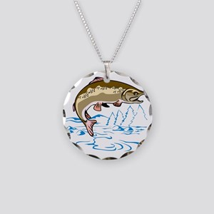 trout jumping side Necklace Circle Charm