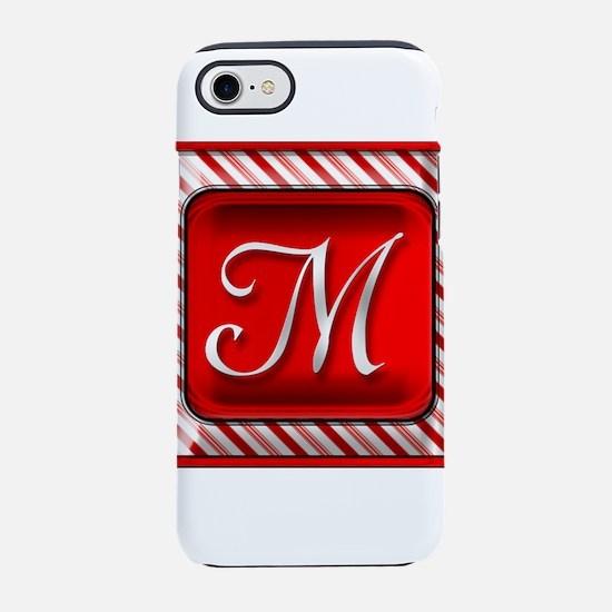 Peppermint Candy Cane Monogram iPhone 7 Tough Case