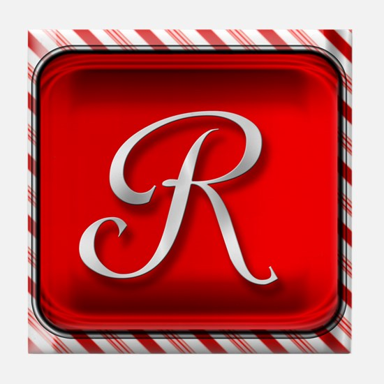 Peppermint Candy Cane Monogram R Tile Coaster