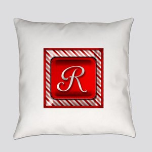 Peppermint Candy Cane Monogram R Everyday Pillow